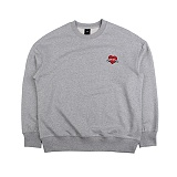 [아이넨]EINEN-Heart Badge Dropshoulder Sweatshirts Melange 맨투맨 크루넥 스��셔츠
