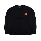 [아이넨]EINEN-Heart Badge Dropshoulder Sweatshirts Black 맨투맨 크루넥 스��셔츠