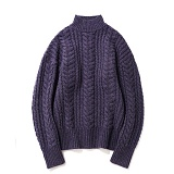 파르티멘토 - Heavy Lambswool Cable Knit Purple 헤비니트