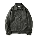 파르티멘토 - Leather 2nd Trucker Jacket Khaki 트러커 가죽자켓