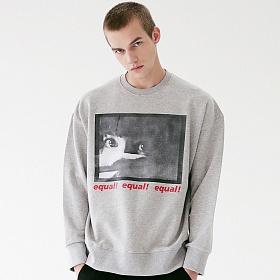 [매스노운]MASSNOUN 쓰렛 맨투맨 스��셔츠 MFVCR001-GR