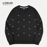 [엠블러]AMBLER CLASSIC 뒷면 자수 프린팅 맨투맨 티셔츠 AMM506-블랙 크루넥 특양면 기모 세미오버핏