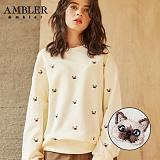 [엠블러]AMBLER CLASSIC 뒷면 자수 프린팅 맨투맨 티셔츠 AMM506-아이보리 크루넥 특양면 기모 세미오버핏