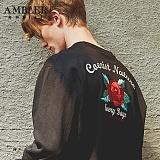 [엠블러]AMBLER CLASSIC 뒷면 자수 프린팅 맨투맨 티셔츠 AMM507-블랙 크루넥 특양면 기모 세미오버핏
