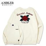 [엠블러]AMBLER CLASSIC 뒷면 자수 프린팅 맨투맨 티셔츠 AMM507-아이보리 크루넥 특양면 기모 세미오버핏