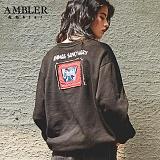 [엠블러]AMBLER CLASSIC 뒷면 자수 프린팅 맨투맨 티셔츠 AMM508-블랙 크루넥 특양면 기모 세미오버핏