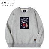 [엠블러]AMBLER CLASSIC 뒷면 자수 프린팅 맨투맨 티셔츠 AMM510-멜란지 크루넥 특양면 기모 세미오버핏