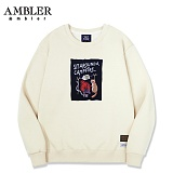 [엠블러]AMBLER CLASSIC 뒷면 자수 프린팅 맨투맨 티셔츠 AMM510-아이보리 크루넥 특양면 기모 세미오버핏