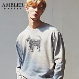 [엠블러]AMBLER CLASSIC 뒷면 자수 프린팅 맨투맨 티셔츠 AMM511-멜란지 크루넥 특양면 기모 세미오버핏