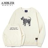 [엠블러]AMBLER CLASSIC 뒷면 자수 프린팅 맨투맨 티셔츠 AMM511-아이보리 크루넥 특양면 기모 세미오버핏