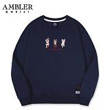 [엠블러]AMBLER CLASSIC 자수 프린팅 맨투맨 티셔츠 AMM512-네이비 크루넥 특양면 기모 세미오버핏