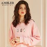 [엠블러]AMBLER CLASSIC 자수 프린팅 맨투맨 티셔츠 AMM512-라이트핑크 크루넥 특양면 기모 세미오버핏