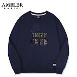 [엠블러]AMBLER CLASSIC 뒷면 자수 프린팅 맨투맨 티셔츠 AMM513-네이비 크루넥 특양면 기모 세미오버핏