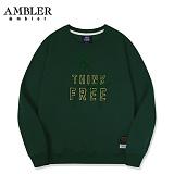 [엠블러]AMBLER CLASSIC 뒷면 자수 프린팅 맨투맨 티셔츠 AMM513-카키 크루넥 특양면 기모 세미오버핏