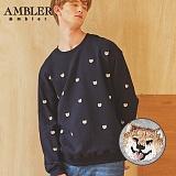 [엠블러]AMBLER CLASSIC 뒷면 자수 프린팅 맨투맨 티셔츠 AMM514-네이비 크루넥 특양면 기모 세미오버핏