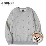[엠블러]AMBLER CLASSIC 뒷면 자수 프린팅 맨투맨 티셔츠 AMM514-멜란지 크루넥 특양면 기모 세미오버핏