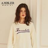 [엠블러]AMBLER CLASSIC 뒷면 자수 프린팅 맨투맨 티셔츠 AMM515-아이보리 크루넥 특양면 기모 세미오버핏