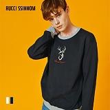 [루찌씬놈]Rucci Ssinnom - 맨투맨 SNM101 (2color) 사슴 자수 스��셔츠