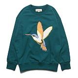 프랭크도미닉 - HUMMING BIRD OVERSIZE SWEAT(BLUE GREEN) 자수 맨투맨