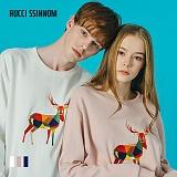 [루찌씬놈]Rucci Ssinnom - 맨투맨 SNM103 (3color) 사슴 자수 스��셔츠