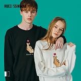 [루찌씬놈]Rucci Ssinnom - 맨투맨 SNM114 (2color) 손가락 하트 자수 스��셔츠