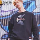 [엠블러]AMBLER CLASSIC 뒷면 자수 프린팅 맨투맨 티셔츠 AMM509-블랙 크루넥 특양면 기모 세미오버핏