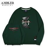 [엠블러]AMBLER CLASSIC 뒷면 자수 프린팅 맨투맨 티셔츠 AMM509-카키 크루넥 특양면 기모 세미오버핏