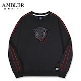 [엠블러]AMBLER CLASSIC 자수 프린팅 맨투맨 티셔츠 AMM516-블랙 크루넥 특양면 기모 세미오버핏