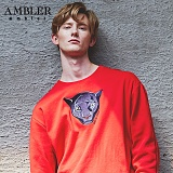 [엠블러]AMBLER CLASSIC 뒷면 자수 프린팅 맨투맨 티셔츠 AMM516-레드 크루넥 특양면 기모 세미오버핏