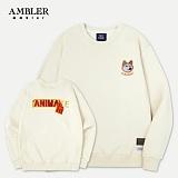 [엠블러]AMBLER CLASSIC 뒷면 자수 프린팅 맨투맨 티셔츠 AMM517-아이보리 시바견 크루넥 특양면 기모 세미오버핏