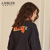 [엠블러]AMBLER CLASSIC 뒷면 자수 프린팅 맨투맨 티셔츠 AMM517-네이비 시바견 크루넥 특양면 기모 세미오버핏