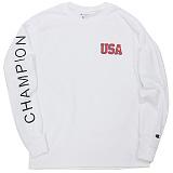 [Champion] 챔피온 USA 긴팔티셔츠 화이트 국내발송