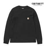 [칼하트WIP] CARHARTT WIP - L/S Pocket T-Shirt (Black) 포켓 롱슬리브 긴팔티 포켓티