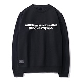 [그루브라임]GROOVERHYME 2017 NINETY-NINE GROOVE MTM (BLACK) [GMT031F43BK] 오버핏 맨투맨 크루넥 스��셔츠