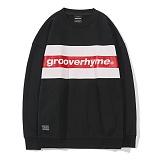 [그루브라임]GROOVERHYME 2017 CHEST STRIPE LOGO MTM OVER FIT (BLACK) [GMT034F43BK] 오버핏 맨투맨 크루