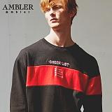 [엠블러]AMBLER CLASSIC 뒷면 자수 프린팅 맨투맨 티셔츠 AMM518-블랙 크루넥 특양면 기모 세미오버핏