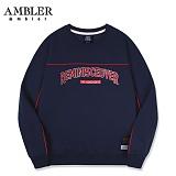 [엠블러]AMBLER CLASSIC 자수 프린팅 맨투맨 티셔츠 AMM519-네이비 크루넥 특양면 기모 세미오버핏