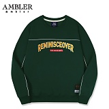 [엠블러]AMBLER CLASSIC 자수 프린팅 맨투맨 티셔츠 AMM519-카키 크루넥 특양면 기모 세미오버핏