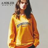[엠블러]AMBLER CLASSIC 자수 프린팅 맨투맨 티셔츠 AMM519-머스타드 크루넥 특양면 기모 세미오버핏