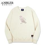 [엠블러]AMBLER CLASSIC 뒷면 자수 프린팅 맨투맨 티셔츠 AMM521-아이보리 크루넥 특양면 기모 세미오버핏