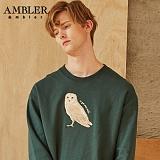 [엠블러]AMBLER CLASSIC 뒷면 자수 프린팅 맨투맨 티셔츠 AMM521-카키 크루넥 특양면 기모 세미오버핏