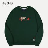 [엠블러]AMBLER CLASSIC 자수 프린팅 맨투맨 티셔츠 AMM522-카키 크루넥 특양면 기모 세미오버핏
