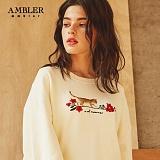 [엠블러]AMBLER CLASSIC 자수 프린팅 맨투맨 티셔츠 AMM522-아이보리 크루넥 특양면 기모 세미오버핏