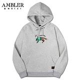 [엠블러]AMBLER 신상 자수 후드티 AHP405-멜란지 후디 자수 기모 세미오버핏
