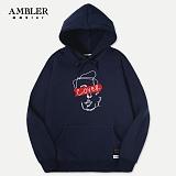[엠블러]AMBLER 신상 자수 후드티 AHP406-네이비 후디 자수 기모 세미오버핏
