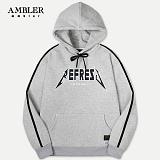 [엠블러]AMBLER 신상 자수 후드티 AHP407-멜란지 후디 자수 기모 세미오버핏 사이드라인