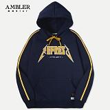 [엠블러]AMBLER 신상 자수 후드티 AHP407-네이비 후디 자수 기모 세미오버핏 사이드라인