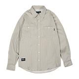 앱놀머씽 - Dobby Stripe Shirts (Beige) 스트라이프 셔츠