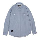 앱놀머씽 - Dobby Stripe Shirts (Blue) 스트라이프 셔츠