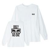 [오베이]OBEY - NO ONE L/S T-SHIRT 164901559 (WHITE) 등판로고 긴팔티 롱슬리브